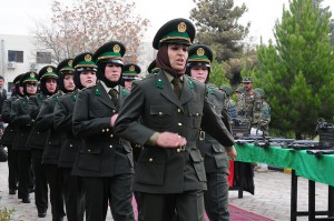 Female soldiers marching in step